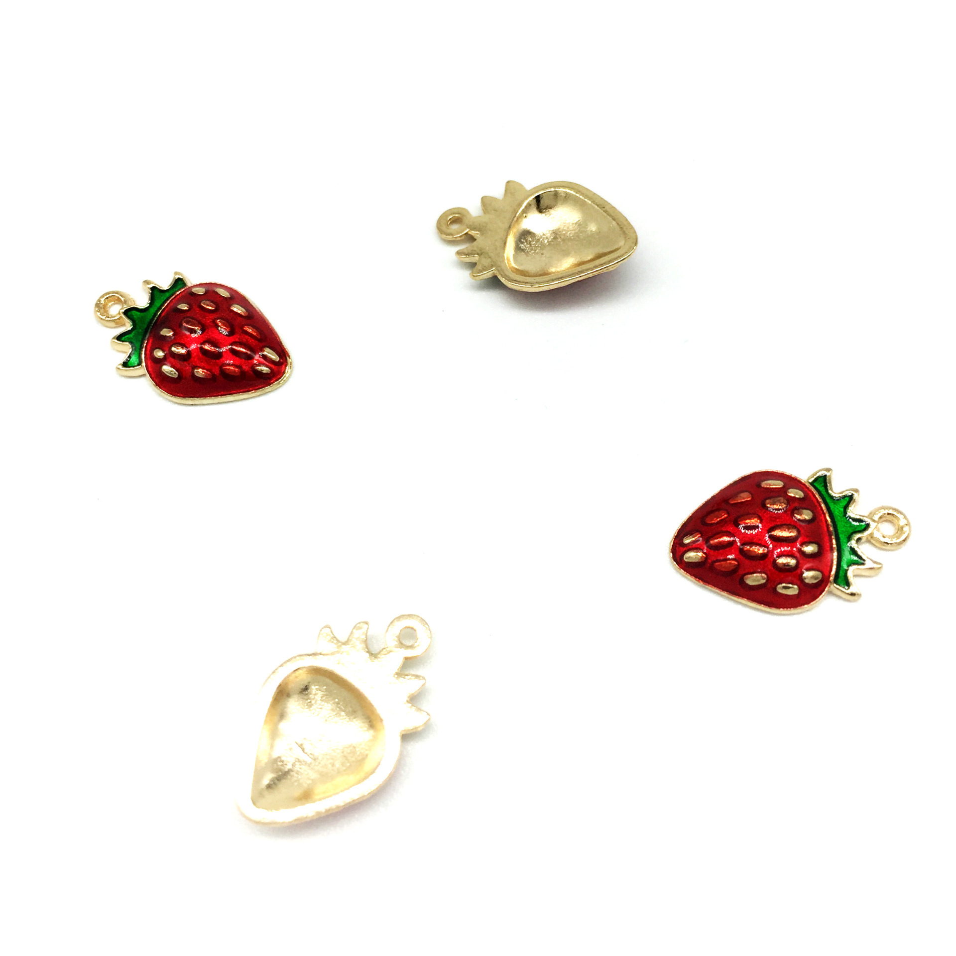 10pcs lot New Arrival Cute Gold Tone All Enamel 11 17mm Strawberry Charms Pendants For Jewelry Making in Charms from Jewelry Accessories