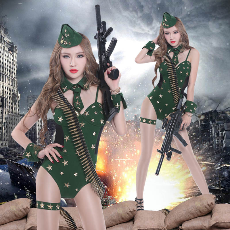 2016 Military Uniforms Dance uniforms temptation officer DS costumes sexy singer DJ night dance clothing new Female Costumes