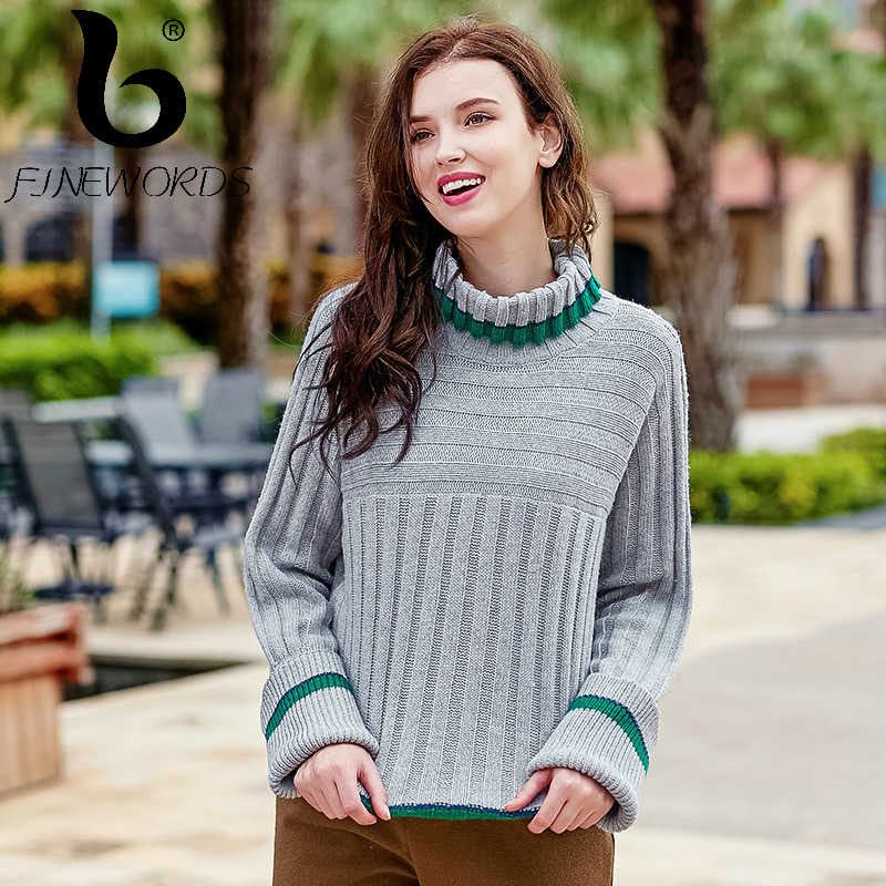 FINEWORDS Turtleneck Knitted Pullover Christmas Sweater Women Striped Vintage Winter Loose Knit Sweater Long Sleeve pull femme