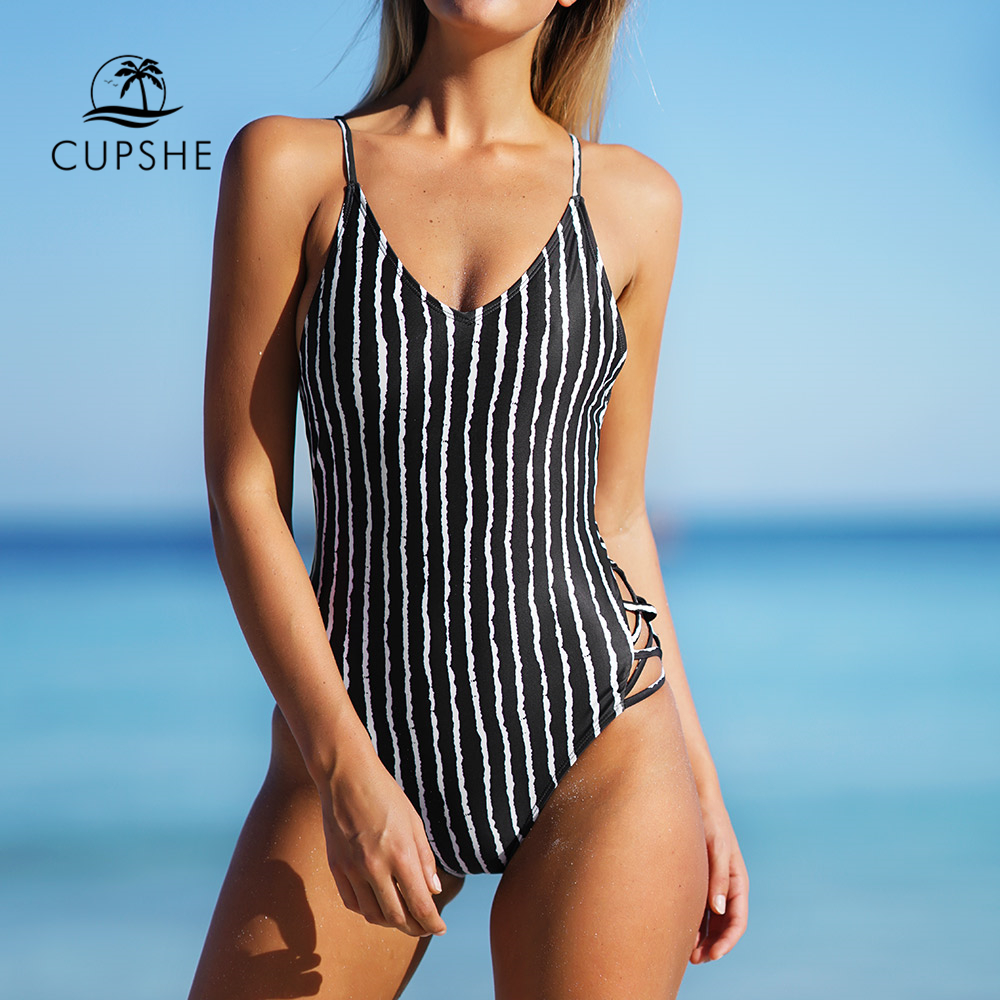 3bf82a07a8 CUPSHE Stripe One-piece Swimsuit Women V neck Crisscross Backless Monokini  2019 Girl Beach Bathing