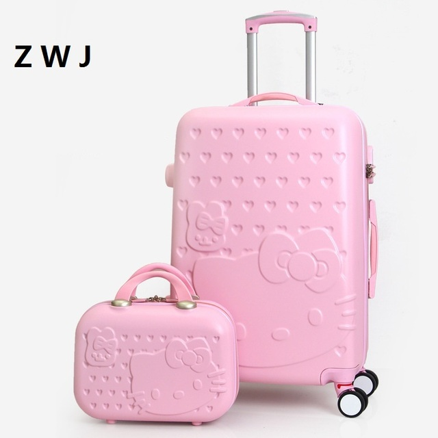 2PCS SET Lovely 20 24 28 inch with 14inch Cosmetic bag hello Kitty luggage  girl Women and children KT cat Travel Case 2c7f12f14549f