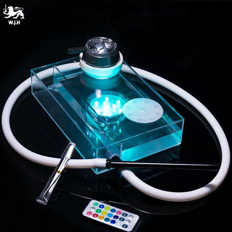 1Pcs High Grade Acrylic Narguile 26x18x6 Cm Hookah Set Transparent Shisha Complete Silica Gel Bowl Chicha Water Hose Led Light