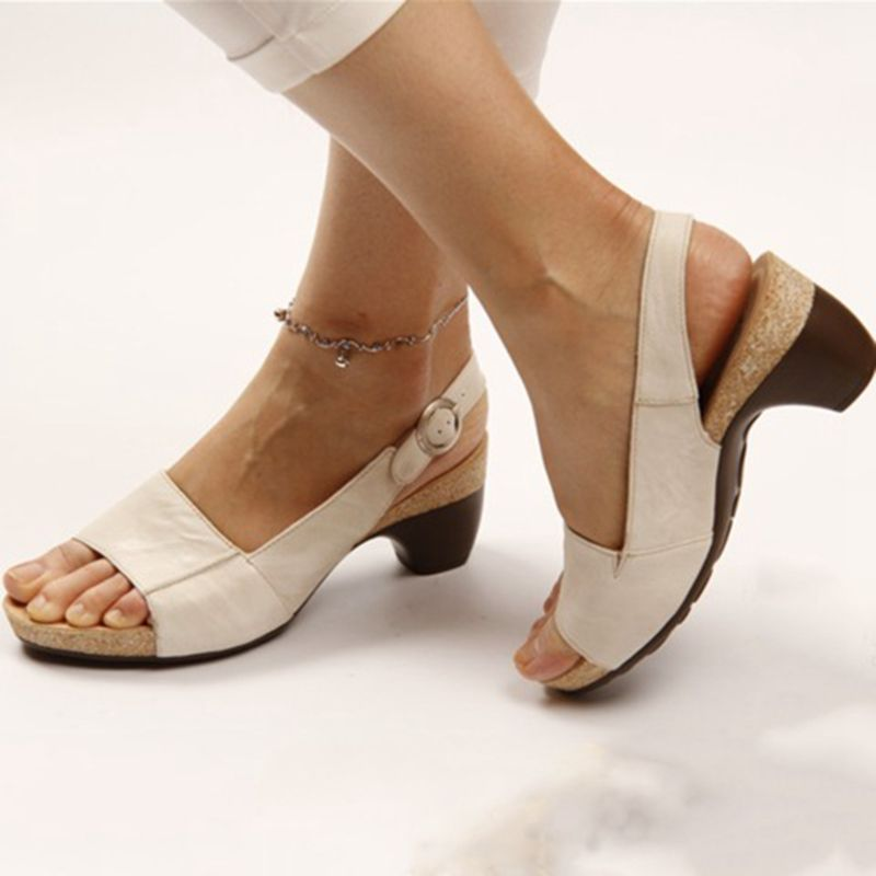 Women Sandals Mid-Heels Ladies Shoes Chunky Platform-Roman Open-Toe Vintage Gladiator