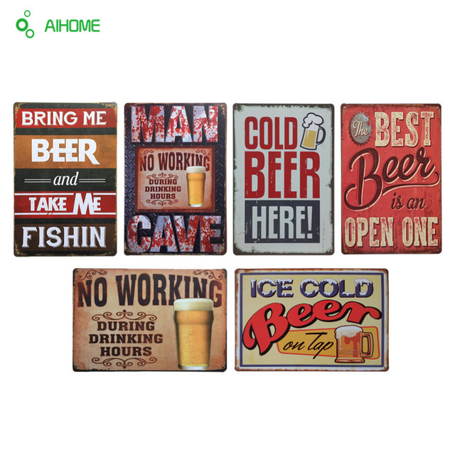 AIHOME COLD BEER Metal Sign PUB HomeHotel Bar Decoration Vintage Iron Plate Painting Wall Home Decor