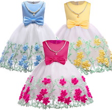 2019 Cute Girls Summer Dress Floral Princess  Dress Kids Dress for Girls Party and Wedding Ball Gown Kids Costume Vestidos princess fluffy dress for girls pageant dress floral kids evening ball gown long girls prom dress pink party dress for girls