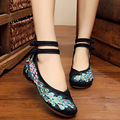 New Woman Flat Shoes Sequined Peacock Embroidery Shoes Chinese Old Peking Soft Sole Casual Cloth Dancing Shoes Big Size 41