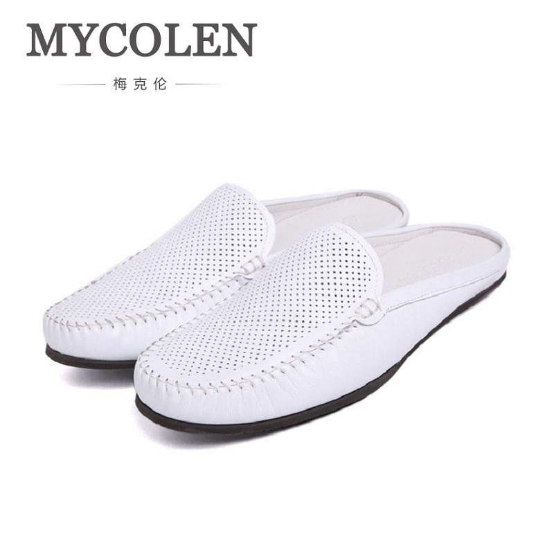 MYCOLEN Breathable Hollow Shoes Mens Half Loafers Genuine Leather Italian Summer Luxury Brand Slipon Men Espadrilles Sapato mycolen men loafers leather genuine luxury designer slip on mens shoes black italian brand dress loafers moccasins mens