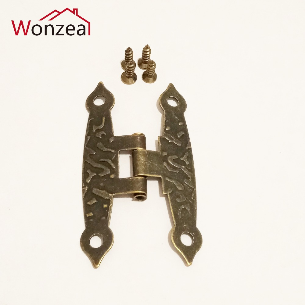 8pcs Antique Bronze Box Hinges Cabinet Door Drawer Decoration Vintage Hinge For Jewelry Wooden Box Furniture Hardware
