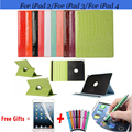 Crocodile Cover for iPad 2 Case Flip Pu Leather Case for iPad 3 Rotating Smart Case for iPad 4 Cover 9.7 inch with Stand Holder