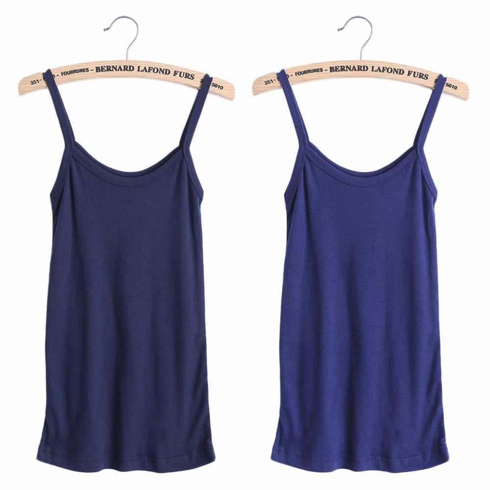 2018 nouveau été Sexy femmes plaine Camisole u-cou gilet extensible dos nu mince fronde réservoir hauts T-Shirt T-Shirt
