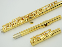 Music Fancier Club Professional Flute Gold Plated Flute Gold Key Instrument Intermediate Student Curved Headjoint Flutes