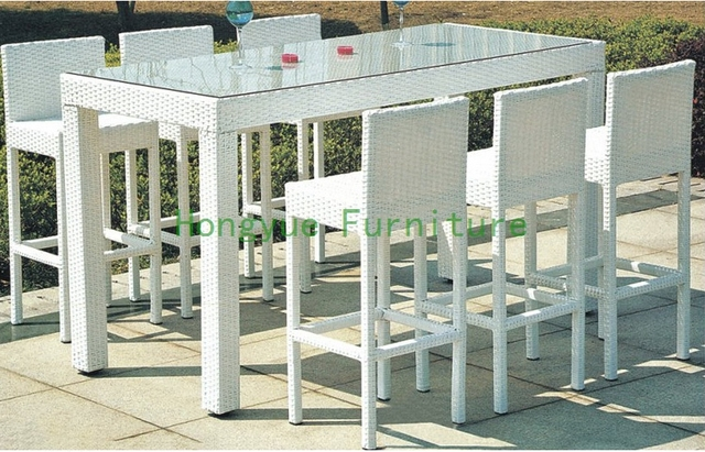 Elegant White Rattan Bar Furniture Set,garden Bar Table And Chairs