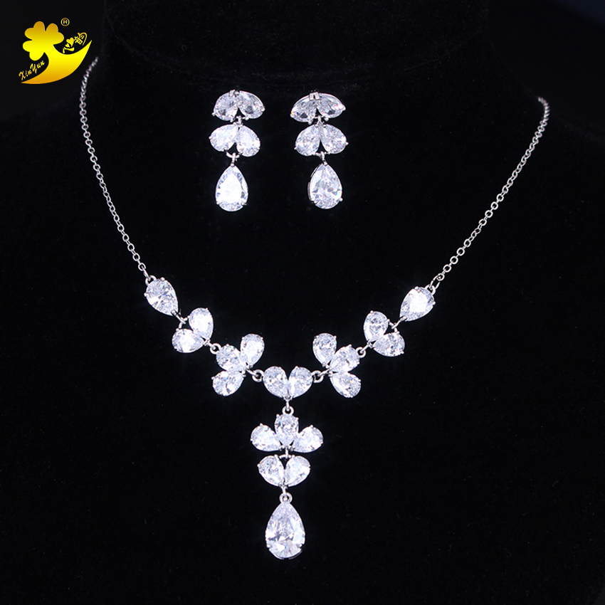 Xinyun Brand New Cubic Zirconia Brides Necklace and Earrings Wedding Jewelry Bridal Zircon Jewellery Wedding Accessories Bride