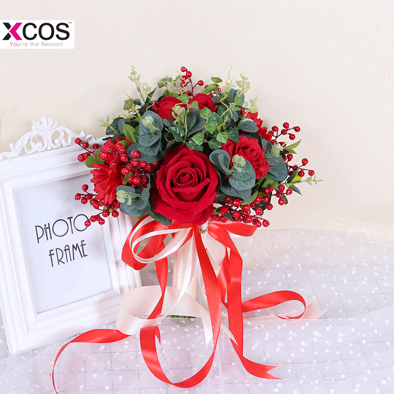 Gorgeous Red Rose Wedding Flowers Bridal Bouquets Green Leaves Flores Artificiales Bouquet For Bridesmaids Silk Ribbon