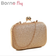 Berno fly Brand New Woman Evening bag Gold Glittered Hasp Clutch bags Wallet  Wedding Handbags Party a8c002cb8bf2