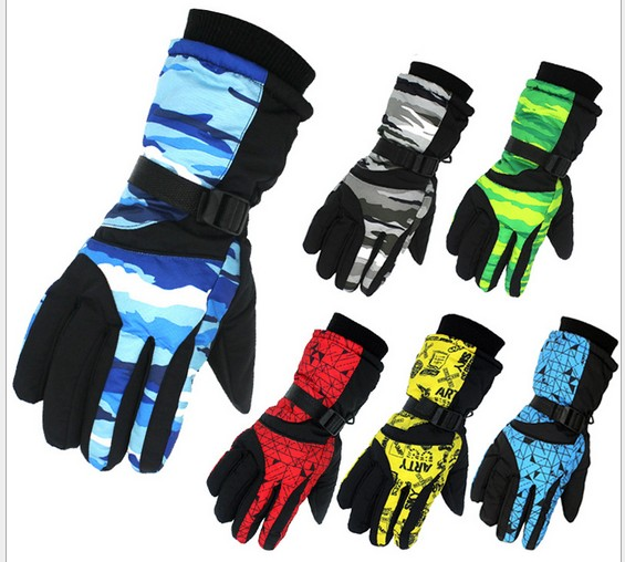 Mens multicolor camouflage fingered ski gloves male riding mountaineering skiing gloves winter sports gloves snow gloves