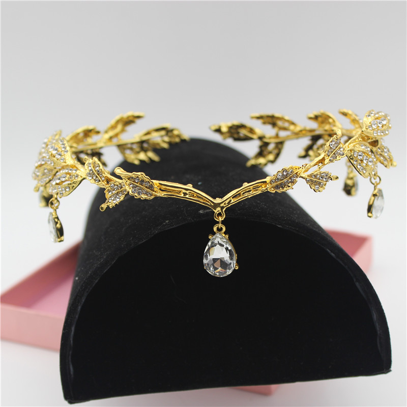 Sparkly Crystal Gold Leaves Women Brude Pannebånd Brud Hodekjede Hodepynt Rhinestone Tiara Wedding Prom Hair Accessories