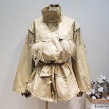 Lanmrem 2020 nova moda avestruz pena frisado alta qualidade casaco para feminino trench drawstring cintura vestido yg505