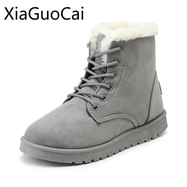 7be7a16c26da9 Warm Brand Fashion Women Winter Warm Snow Boots Plush Faux Leather Flat  Winter Fashion Boots for