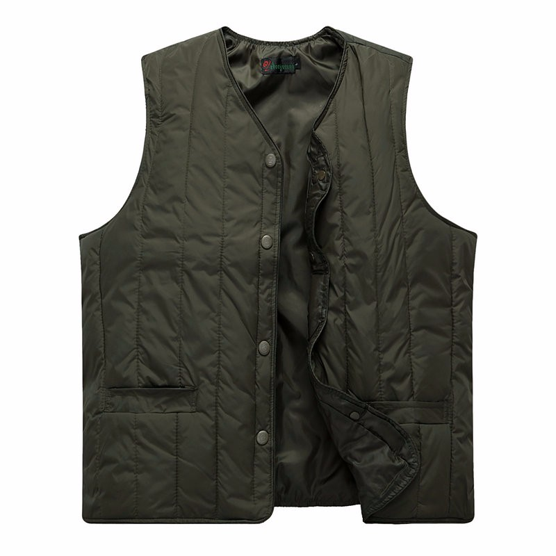 Man Quiited Puffer Vest Dark Blue Army Green Gilet Middle Aged Men Autumn Waistvest Elderly Grandpa Sleeveless Jacket Winter (1)
