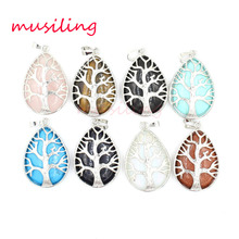 Life Tree Pendants Pendulum Water Drop Silver Plated Natural Stone Reiki Charms Wicca Amulet Fashion Jewelry for Women 10pcs