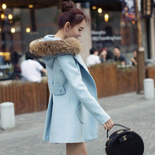 Hot  sale korea version women winter Plaids and tweeds  women trench thick coat  wool collar  young girl/women winter need