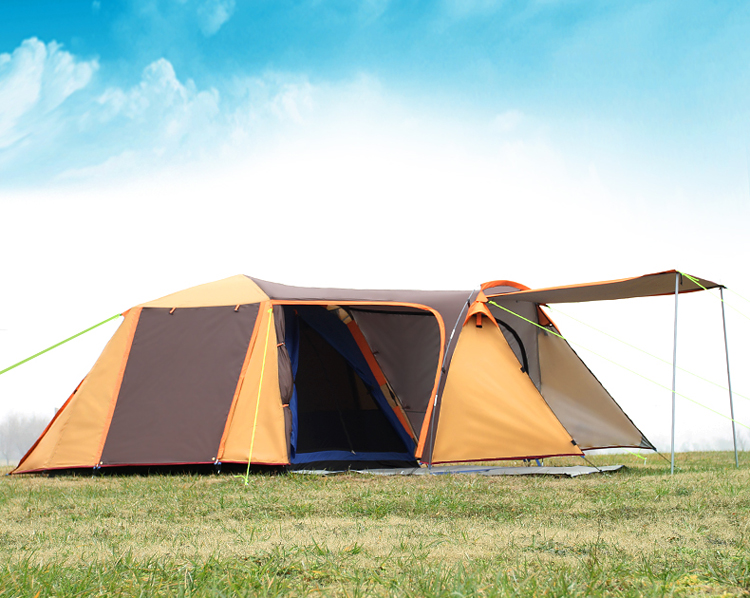 High quality double layer 3-4person one hall one bedroom waterproof windproof camping tent 2015 new style high quality double layer untralarge one hall one bedroom family party camping tent