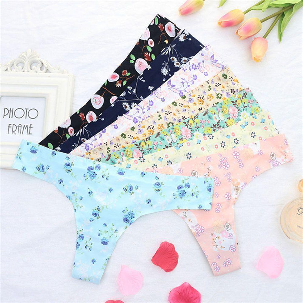 Cotton Thong Flower Printing G String Small Mesh Breathable Panties Women Seamless Panties Women Sexy Thong Plus Size
