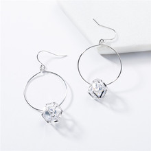 2019 fashion woman jewelry European acrylic metal square circle earrings retro popular drop