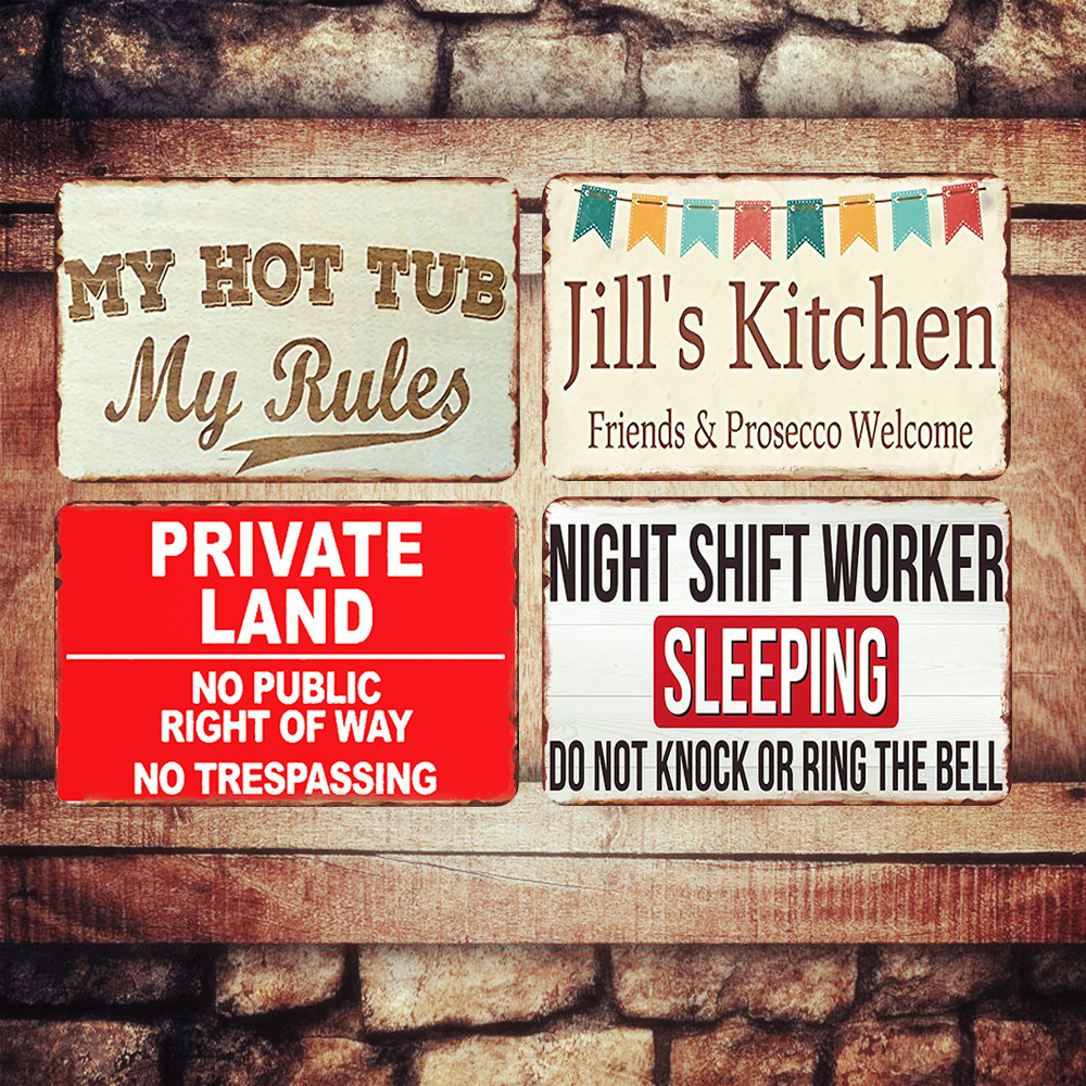 My Hot Tub My Rules Plaque Vintage Metal Signs Bar Pub Home Decorative Plates Private Land Wall Stickers Art Poster Decor N248 signs