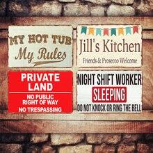 Mi bañera mis reglas placa Vintage Metal signos Bar Pub hogar placas decorativas tierra privada pared PEGATINAS ARTE cartel Decoración