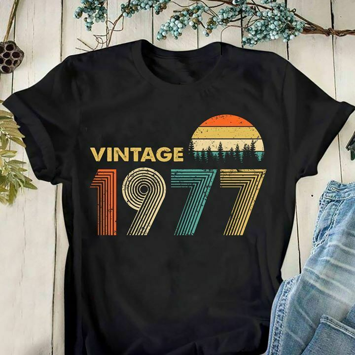 Vintage 1977 Men T Shirt Black Cotton S 4Xl