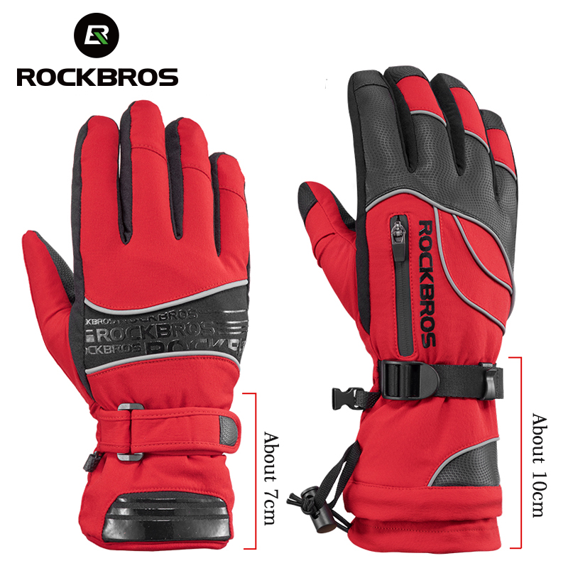 ROCKBROS Winter Cycling Outdoor Sports Full Finger Gloves Windproof Thermal  Red