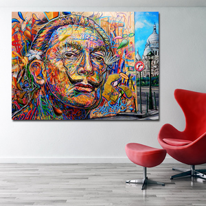 SELFLESSLY Salvador Dali Colorful Portrait Oil Painting Wall Art Canvas Posters Print For Living Room Home decoration(China)