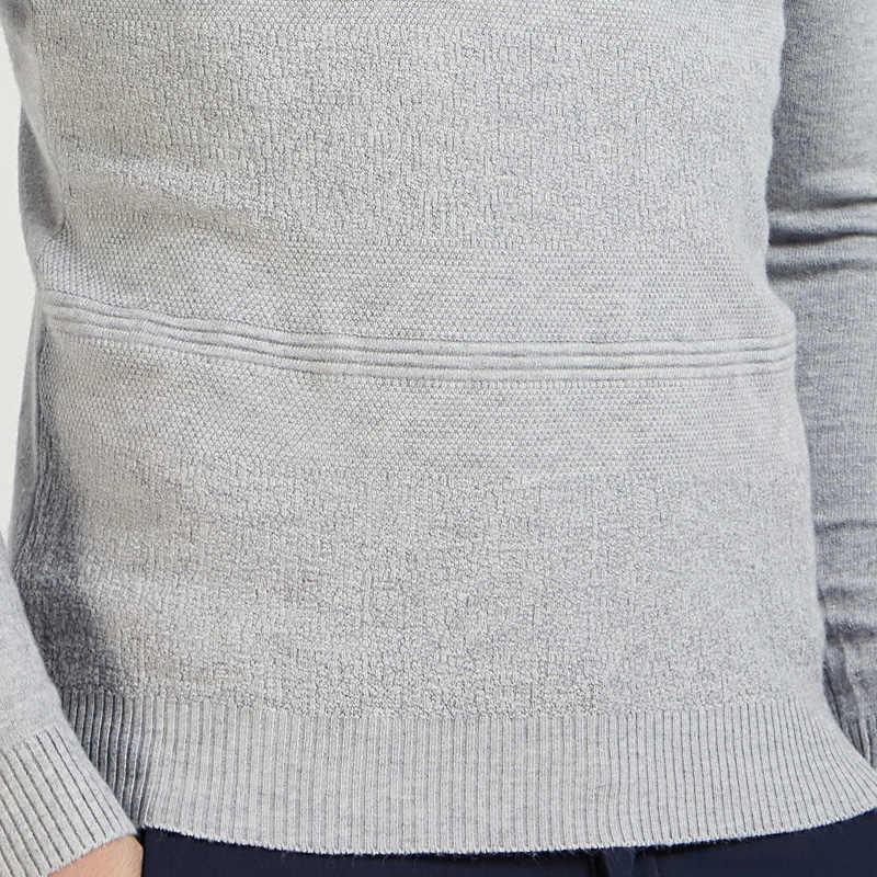 2019 casual slim fit pullover hombres suéter sólido elástico fino cuello redondo suéteres hombres Otoño Invierno ropa interior pull knit jersey gris