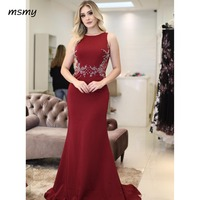 2018 Arabic Burgundy Evening Dress Mermaid Long Sleeveless Formal Holiday Celebrity Wear Prom Party Gown Custom Made Plus Size