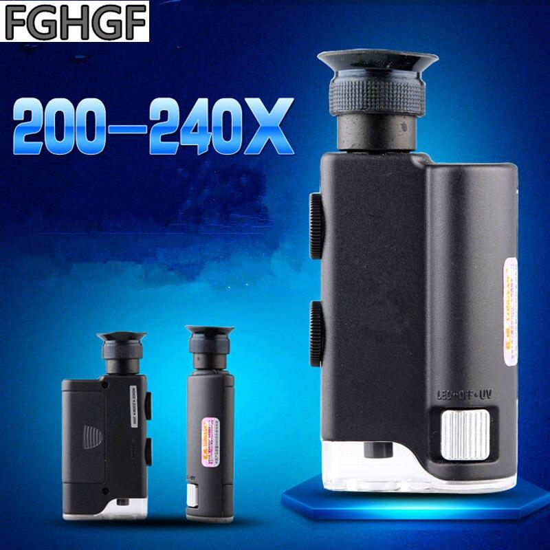 Handheld 200X-240X Vezes Com uma Lâmpada Lupa Microscópio Portátil Ajustável Jóias Identificação de Porcelana Antigo