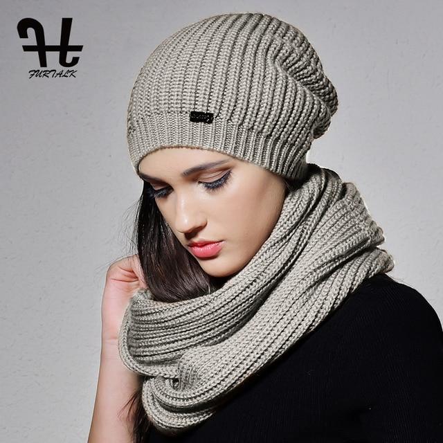 f44b0541bc1 FURTALK Autumn Winter Knitted Women Hat Scarf Set Slouchy Hat Infinity  Scarves Hat Knit Skullies Beanies