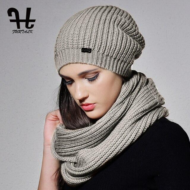 FURTALK Herbst Winter Gestrickte Frauen Hut Schal Set Slouchy Hat ...
