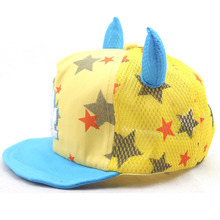 Cute baby boy soft hat child star baseball cap with the horn kids girl lovely summer flanging hat