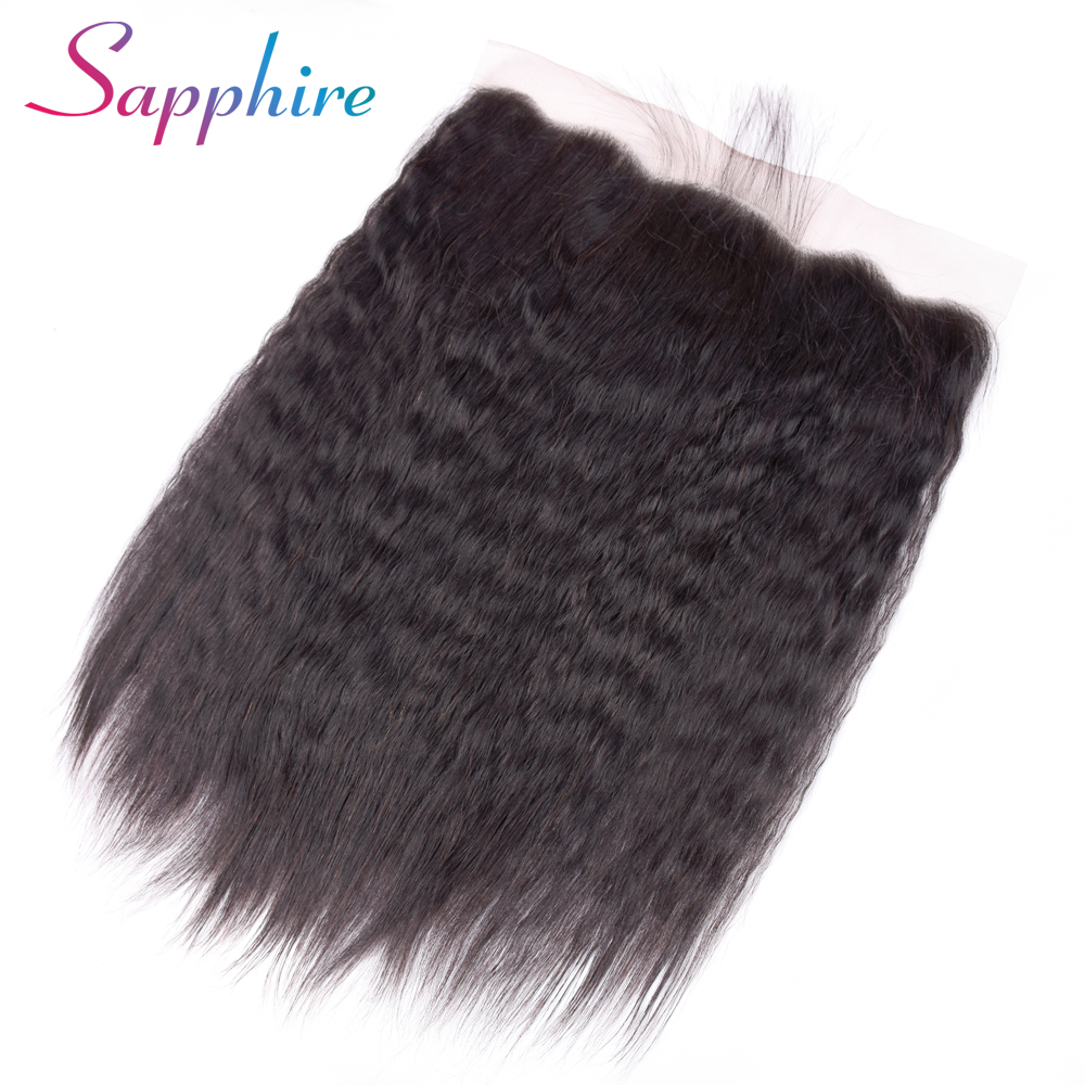 Sapphire Malaysian Kinky Straight Hair Lace Frontal Closure 13x4 Swiss Lace Ear To Ear Remy Human Hair Free Shipping-in Closures from Hair Extensions & Wigs    1