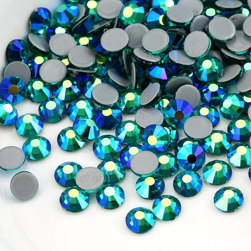 Top Quality Green Zircon AB Hot Fix Rhinestone SS16 SS20 Glass Iron On Rhinestone For Clothes Wedding Decoration