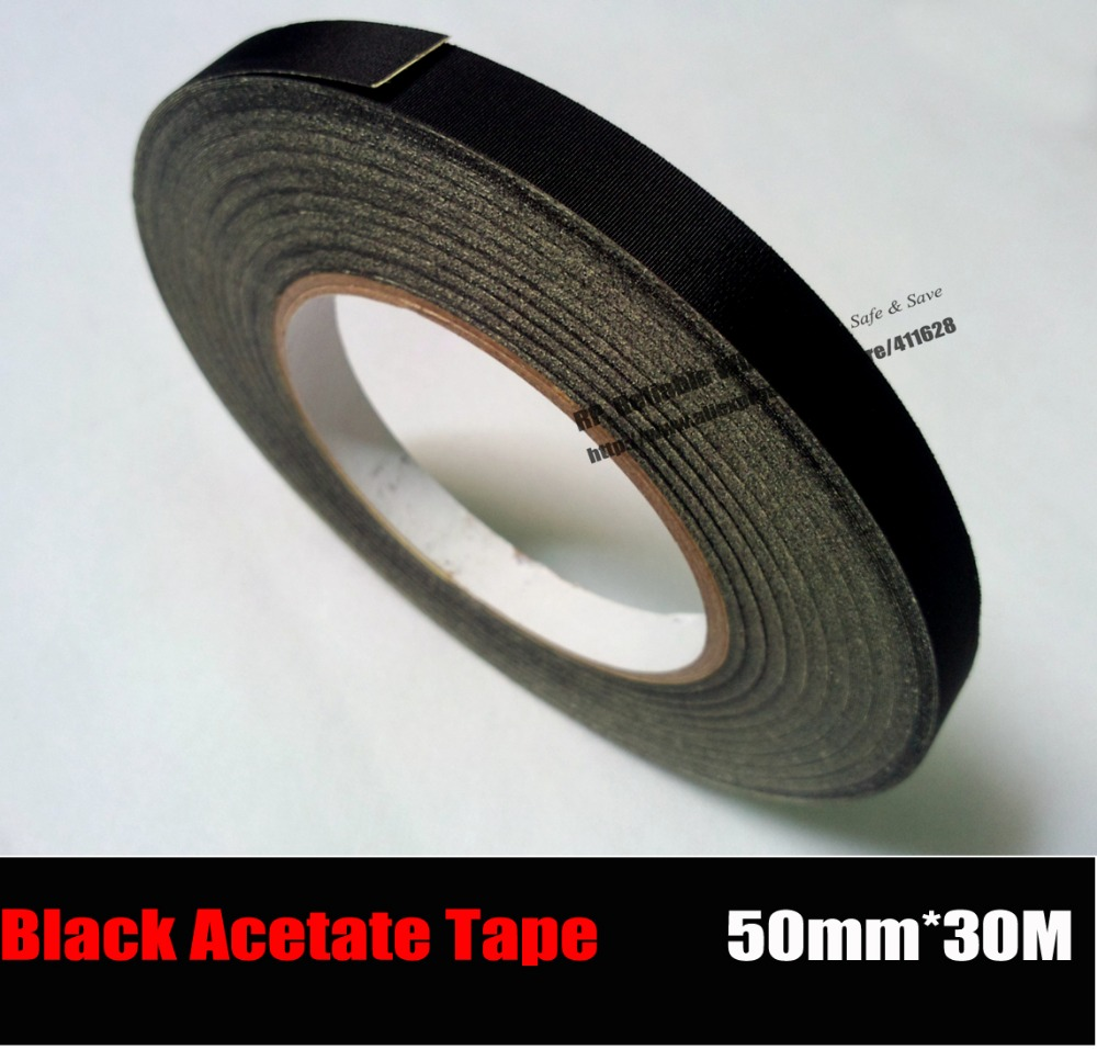 (50mm*30M) Insulation Black Acetate Cloth Tape, High Temperature Resist, LCD Screen Repair 2pcs 10mm 30 meters high temperature resist black adhesive insulate acetate cloth tape for laptop phone lcd cable wrap