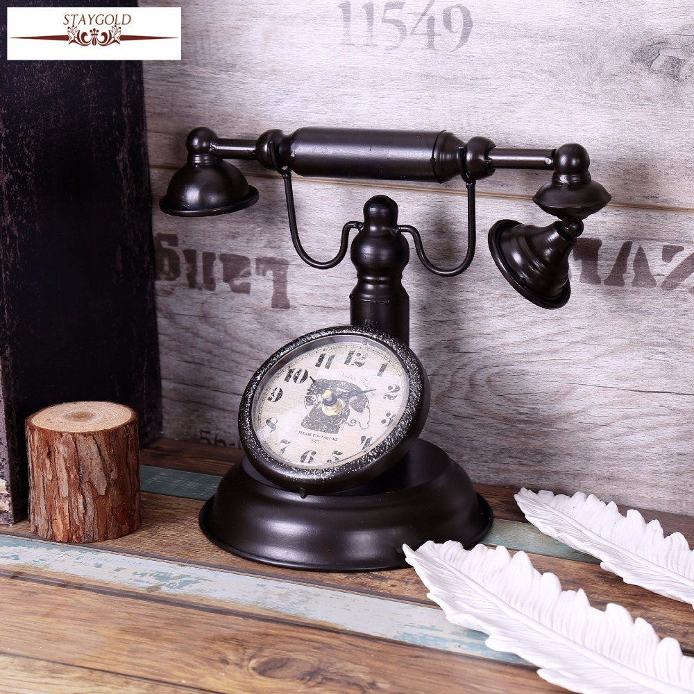 Shabby Chic Retro Telephone Model Vintage Decor Desk Clock Table Bar Cafe Crafts Decoration