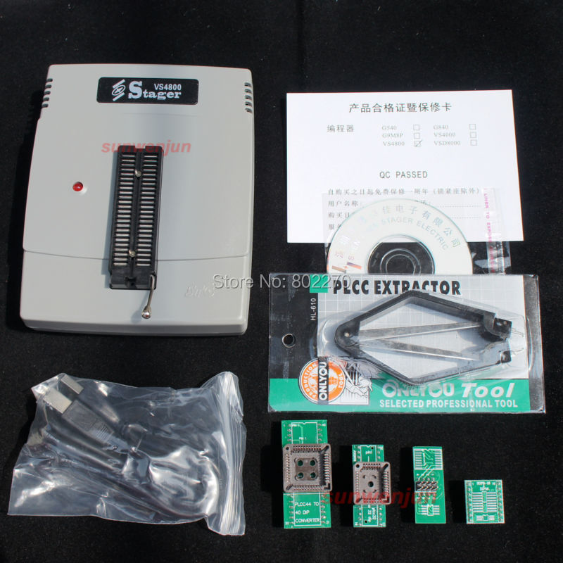 VS4800 USB Universal Programmer for Bios GAL EPROM FLASH 51 AVR PIC MCU SPI with 48pin ZIF socket,support 15000+ IC, +4 adapters zlg easypro90b usb universal programmer eprom mcu pic writer duplicator burner 90b programmer