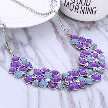 Рождественский подарок, разноцветное женское ожерелье с бусинами, геометрические мозаичные камни, дикая мода, ожерелье из смолы для женщин, ожерелье-чокер