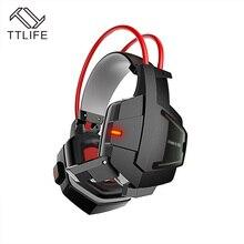 TTLIFE лучший звук игры наушники с микрофоном стерео HiFi Шум отмена силиконовые игровая гарнитура с свет для компьютера PC Gamer