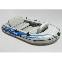INTEX 68319 Three Person Inflatable Fishing Boat Rubber Rowing Boat Thickening Increased Boat With Oars And Pumps