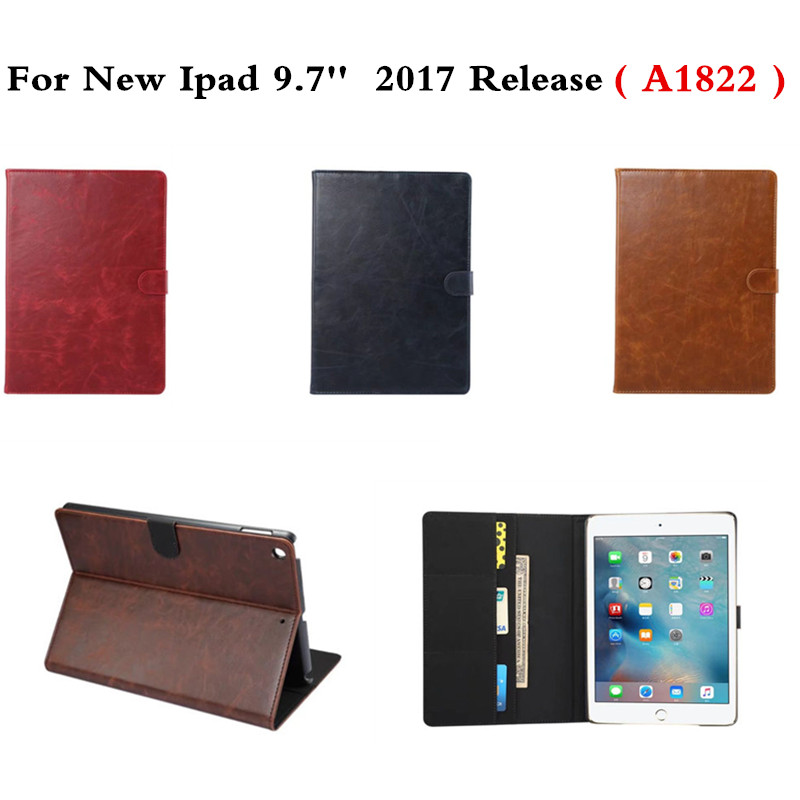 Crazy Horse PU Leather Stand Case Smart Wake-up Sleep Folding Flip Cover Funda Coque For New iPad 9.7 inch 2017 Release A1822 slim leather ebook case for kindle paperwhite 3 2 1 hand strap folding hard shell flip cover crazy horse lines wake sleep