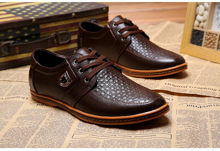 HTB145HpbwLD8KJjSszeq6yGRpXav 2019 Men Leather Casual Shoes Men's Lace Up Footwear Business Adult Moccasins Male Shoes Chaussure Home